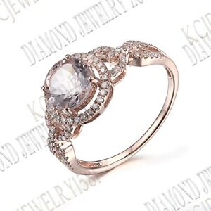 14K Rose Gold Prong Setting Round 7mm Morganite Natural SI/H Diamonds Fine Ring