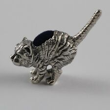 COLLECTABLE VICTORIAN STYLE CROUCHING CAT EMERALD PINCUSHION 925 STERLING SILVER