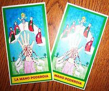 LA MANO PODEROSA The Powerful Hand OF GOD very nice PRAYER CARD set of 2 CARDS