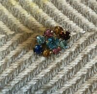 tiny colorful multicolor rhinestone vintage brooch pin oval costume jewelry VTG