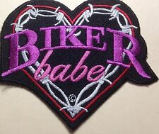 BIKER BABE EMBROIDERED MOTORCYCLE BIKER MC ROCK IRON/SEW LADIES VEST PATCH G-14