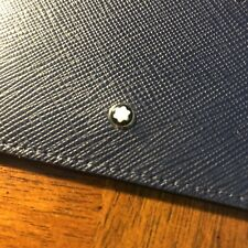 AUTHENTIC Montblanc Navy Thin Blue Leather Business Credit Card Holder Wallet