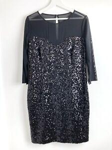 Hobbs NWOT Black Sequin Sheer 3/4 Sleeve Shift Dress Size 14