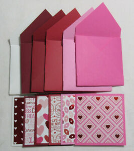 """Valentine's Day Handmade Money Tip Gift Tag Card 3"""" x 3"""" Lot of 6 w/envelopes"""