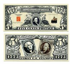 FIRST POSTAGE STAMPS  US   FIVE CENTS     DOLLAR  BILL