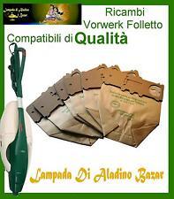 6 Sacchetti Aspirapolvere Filtro Carta Folletto Kobold 130 131 con chiusura