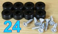"24 Rubber Bumper Feet (SMALL 1/2"" DIA) with Screws Utility Black Silicone"