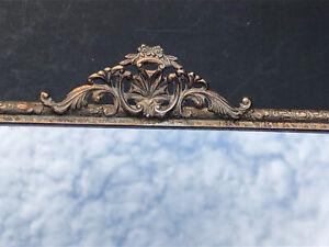 SWEET Vintage Silver Gold Metal Hollywood Regency Dresser MIRROR Antique Vanity