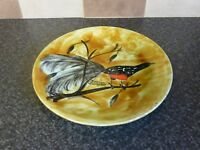VINTAGE BASTIAN QUIMPER POTTERY PLATE LARGE TALE SONG BIRD SIGNED VGC