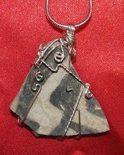 Anasazi shard sherd wire wrap sp snake chain necklace natural stone pendant E109