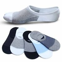 5 10Pairs Mens/Womens Cotton Loafer Boat Non-Slip Invisible Low Cut No Show Sock