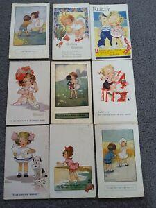 9 Agnes Richardson Signed Postcards, 1912 - 1952. Faulkner, Inter Art Co.