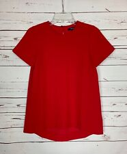 Madewell Women's XS Extra Small Red Short Sleeve Fall Holiday Top Blouse Shirt