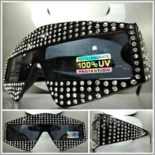 OVERSIZE FUTURISTIC SHIELD Style SUN GLASSES Black Frame Bling Crystals HANDMADE