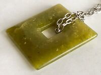 "Vintage Green Jade Gemstone Square 2 1/4"" Pendant Silver Tone Chain 28"" Necklace"