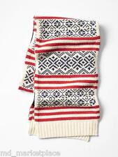 NWT GAP Fair Isle Chunky Scarf Red Black Cream LambsWool Blend Unisex $39 NEW