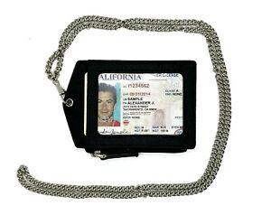 Brown Premium Genuine Leather ID Badge Holder Lanyard Metal Chain Zip Wallet