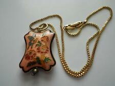 Flowers Gold Tone Box Chain Vintage Puffy Cloisonne Pendant Necklace Butterfly