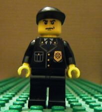 LEGO MINIFIGURE – TOWN CITY - POLICE – CITY SUIT, BLACK CAP, SCOWL – GENTLY USED