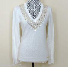 Michael kors Bianco Crema + Cristallo Strass Maglione Shirt-Size Piccolo