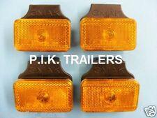4 x Amber Side Marker Light on Bracket - Trailers & Horsebox