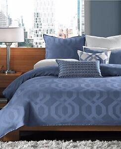 Hotel Collection Bedding Modern Hexagon KING Bedskirt Marine BLUE $150 D1234