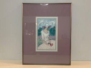 Vintage Pastel of Woman in Floral Field Signed Katherine E. Parker Framed
