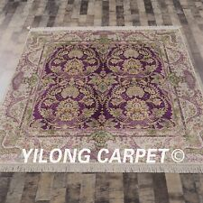 YILONG 6'x6' Handknotted Silk Persian Square Carpet Home Decor Floral Rug S120A