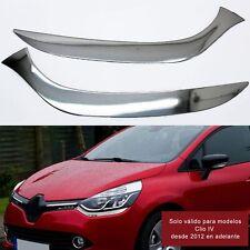 Moldura Faros Delanteros para Renault Clio IV 2012 en adelante Cromado Acero