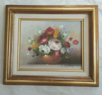 "Framed Original Oil On Canvas Painting Flowers in Vase Floral Portrait 13""x15"""
