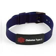 IDtagged Silicone Medical Alert Diabetes Type 2 Matte Black Tag ID Bracelet