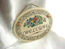 Vtg Welcome Plaque 7 inch Trinity Pottery Oval Fruit Basket and Grape Vines