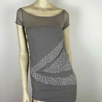 Gianfranco Ferre Womens Grey Classic Ruched Lined Beaded Top Size S A7
