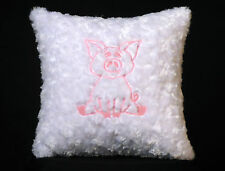 New Embroidered Soft Glow-In-The-Dark White Baby Pig Pillow 12 x 12 in insert