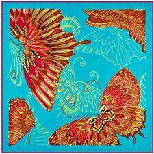 "Silk Scarf Butterfly Light Blue 39"" X 39"" Square Shawl Wrap Red Trim Twill Silk"