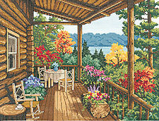 Cross Stitch Kit -  Janlynn Log Cabin Covered Porch in Woods #032-0100