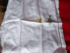 Servilleta de lino bordado a mano vintage con motivo de girasol & calado frontera