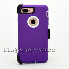 iPhone 7 Rugged Hard Case w Holster Belt Clip fit Otterbox Defender Purple White