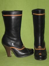 Black & Orange Fly London Mid-Calf Zip-Up Boots 6