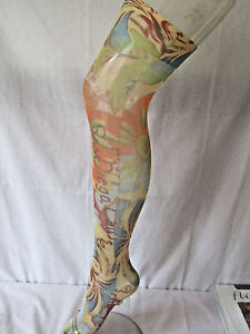 Flirt Orange BALI Floral Over Knee Holdup Stockings Socks C5