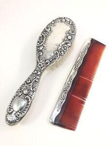 "Vintage Gorham Sterling Silver #26 Vanity Brush/ Comb ""Dresden Rose"" No Mono"