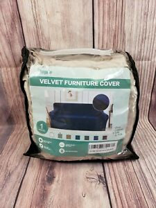 """Velvet Stretch Sofa Couch Slipcover Furniture Cover Fits 72""""- 96"""" Taupe 1 Piece"""