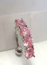 Surgical Steel Curved Barbell CZ Pink Crystals VCH Clitoral Hood 14 gauge 14g