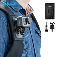 TELESIN Backpack Shoulder Strap Mount+Double J-Hook For Gopro Hero 9 Osmo Action
