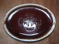 """McCoy USA BROWN DRIP Oval Serving Platter 7062 13 3/8"""" Ribbed w Ctr Design"""