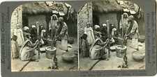 Stereoview India KASHMIR Shelling Rice Mortar & Pestle 27409 256 20396 fx