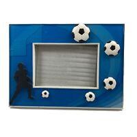 Boutique Blue Acrylic Soccer Boy Freestanding Easel 3D Sports Landscape Frame