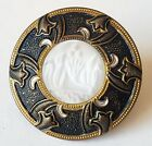 Antique Button Art Nouveau DIG Design In White Glass In Metal w German Marks
