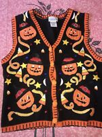 BASIC EDITIONS ~ Women's Halloween Holiday Sweater Vest Embroidered Patches ~ M