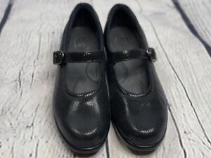 SAS Maria Mary Jane Shoes Size 9 N Black Leather Snake Print Tripad Comfort New!